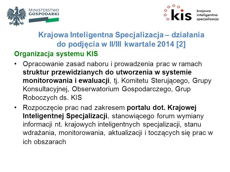 Krajowa Inteligentna Specjalizacja – działania do podjęcia w II/III kwartale 2014 [2]
